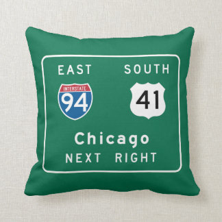 Chicago, IL Road Sign Pillow