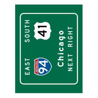 Chicago, IL Road Sign Postcard