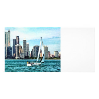Chicago IL - Sailboat Against Chicago Skyline Card