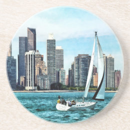 Chicago IL - Sailboat Against Chicago Skyline Coaster