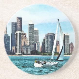 Chicago IL - Sailboat Against Chicago Skyline Coaster