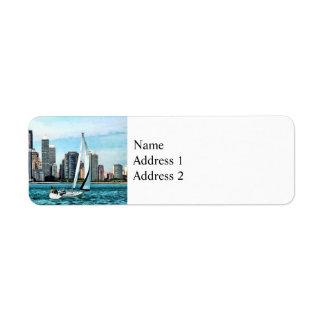 Chicago IL - Sailboat Against Chicago Skyline Label