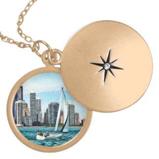 Chicago IL - Sailboat Against Chicago Skyline Locket Necklace
