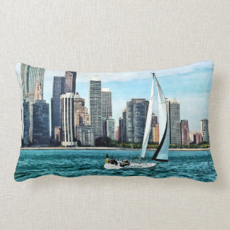 Chicago IL - Sailboat Against Chicago Skyline Lumbar Pillow