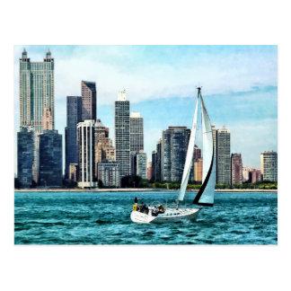 Chicago IL - Sailboat Against Chicago Skyline Postcard