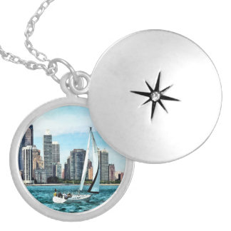 Chicago IL - Sailboat Against Chicago Skyline Silver Plated Necklace