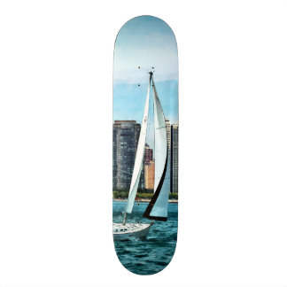 Chicago IL - Sailboat Against Chicago Skyline Custom Skate Board