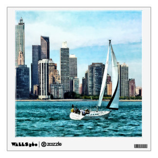 Chicago IL - Sailboat Against Chicago Skyline Room Sticker