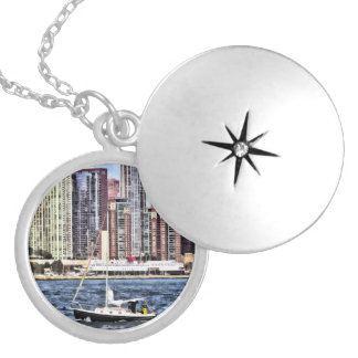 Chicago IL - Sailing on Lake Michigan Silver Plated Necklace