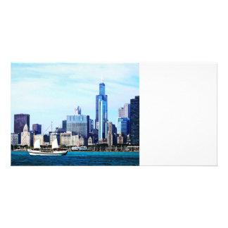 Chicago IL - Schooner Against Chicago Skyline Card