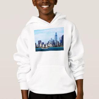 Chicago IL - Schooner Against Chicago Skyline Hoodie