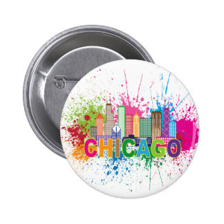 Chicago IL Skyline Abstract Color Illustration 2 Inch Round Button
