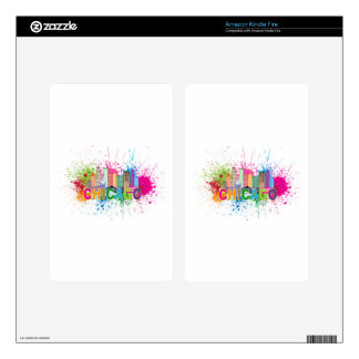 Chicago IL Skyline Abstract Color Illustration Decals For Kindle Fire