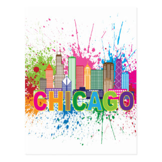 Chicago IL Skyline Abstract Color Illustration Postcard