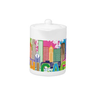 Chicago IL Skyline Abstract Color Illustration Teapot