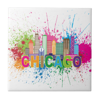 Chicago IL Skyline Abstract Color Illustration Tile