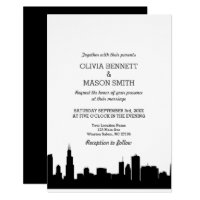 Chicago Il Skyline Cityscape Wedding Invitation