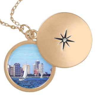 Chicago IL - Two Sailboats by Chicago Skyline Gold Plated Necklace