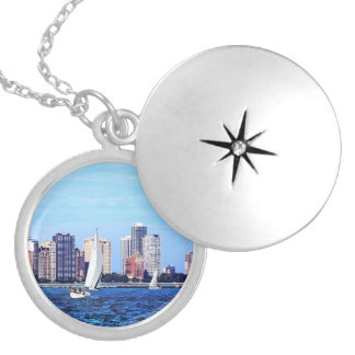 Chicago IL - Two Sailboats by Chicago Skyline Silver Plated Necklace