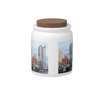 Chicago IL - Water Taxi Passing Under Lyric Opera Candy Jar