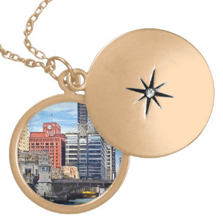 Chicago IL - Water Taxi Passing Under Lyric Opera Gold Plated Necklace