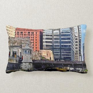 Chicago IL - Water Taxi Passing Under Lyric Opera Lumbar Pillow