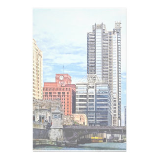 Chicago IL - Water Taxi Passing Under Lyric Opera Personalized Stationery