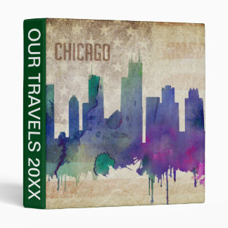 Chicago, IL | Watercolor City Skyline 3 Ring Binder