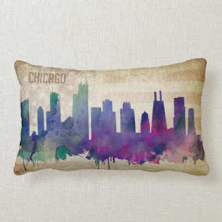 Chicago, IL   Watercolor City Skyline Lumbar Pillow