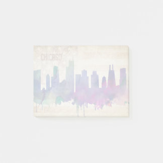 Chicago, IL | Watercolor City Skyline Post-it Notes