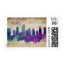 Chicago, IL| Watercolor City Skyline Postage