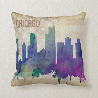 Chicago, IL | Watercolor City Skyline Throw Pillow