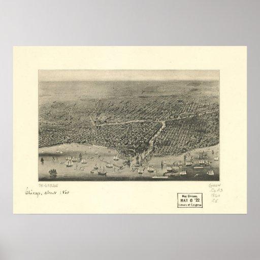 Chicago Illinois 1860 Antique Panoramic Map Poster