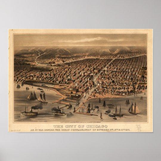 Chicago Illinois 1871 Antique Panoramic Map Poster