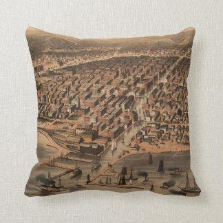 Chicago Illinois 1872 Antique Map Throw Pillow