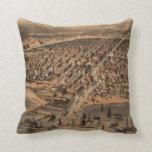 Chicago Illinois 1872 Antique Map Throw Pillows