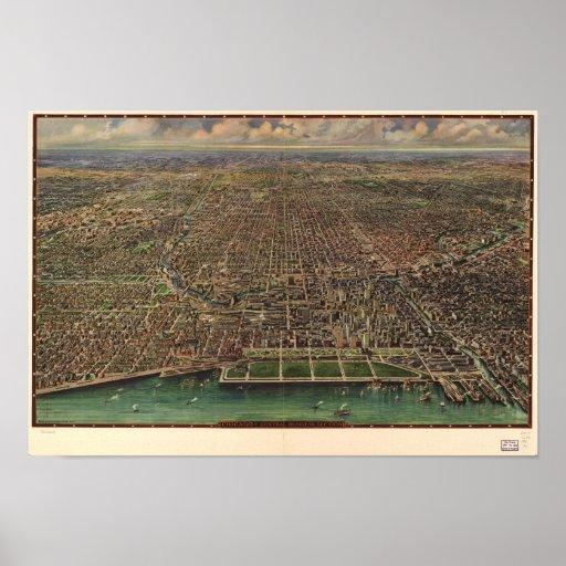 Chicago Illinois 1916 Antique Panoramic Map Poster