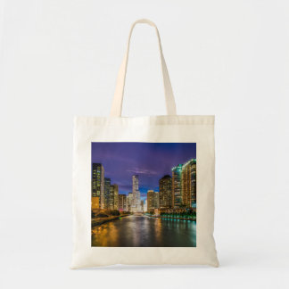 Chicago Illinois at night Tote Bag