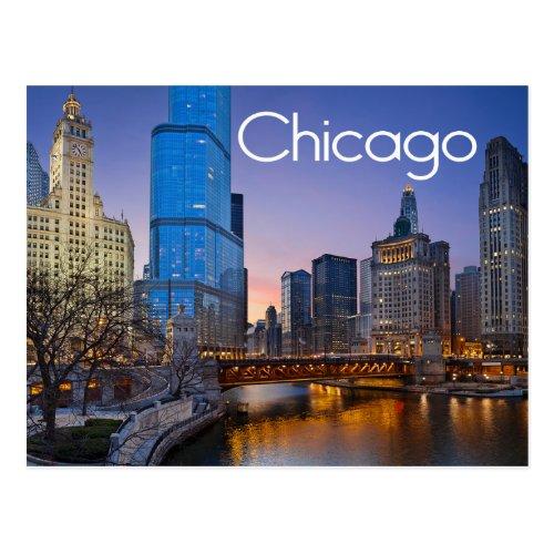 Chicago Illinois At Night United States Postcard