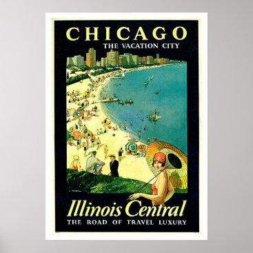 Beach Themed Chicago Illinois Beach Vintage Travel Poster