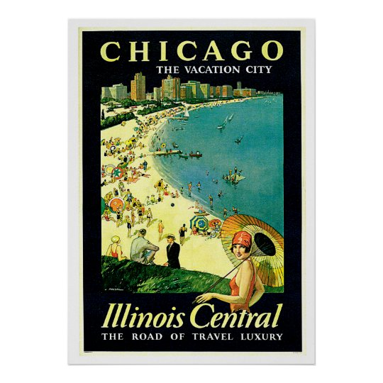 Chicago illinois beach vintage travel poster zazzle for Vintage chicago posters