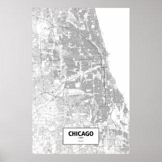 Chicago, Illinois (black on white) Poster