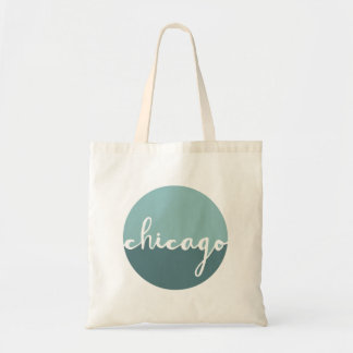 Chicago, Illinois | Blue Ombre Circle Tote Bag