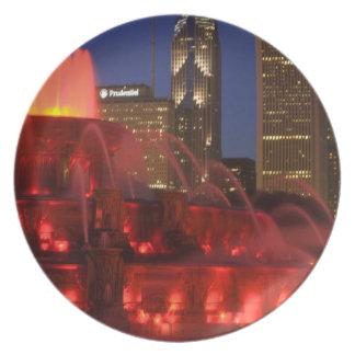 Chicago, Illinois, Buckingham Fountain Melamine Plate