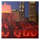 Chicago, Illinois, Buckingham Fountain Large Square Tile