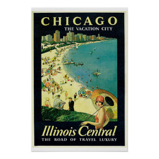 Chicago - Illinois Central Vintage Travel Poster