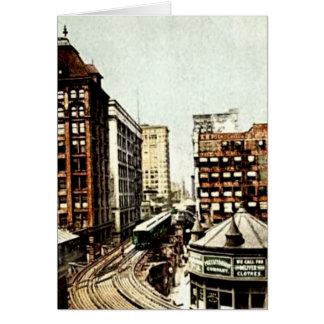 Chicago, Illinois Chicago Loop at Van Buren Greeting Card