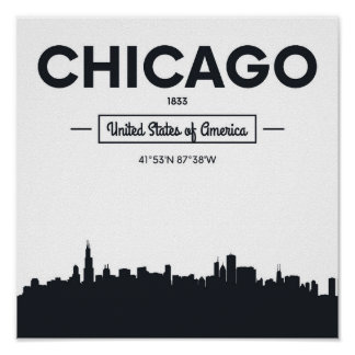 Chicago, Illinois   City Coordinates Poster