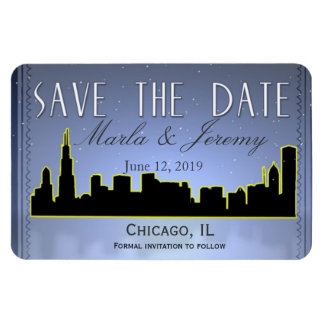 Chicago Illinois downtown skyline save the date Magnet