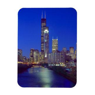 Chicago, Illinois, horizonte en la noche con Chica Imán De Vinilo